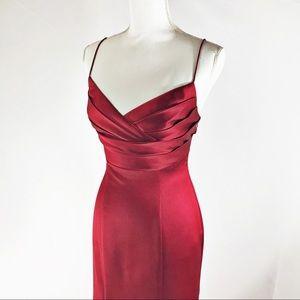David's Bridal Red Mermaid Style Satin Dress